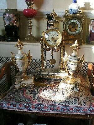 ***Beautiful 19th C French Ormolu & Specimen Marble Portico Clock with Sconces**