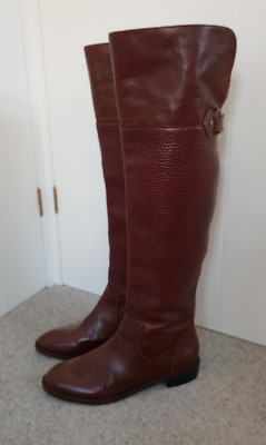Handmade women/men real leather brown over the knee comfy boots size UK 9.5