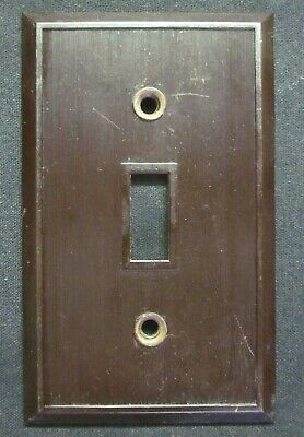 Hemco USA Switch Wall Plate Cover Fine Lines Ribs Brown Bakelite Antique