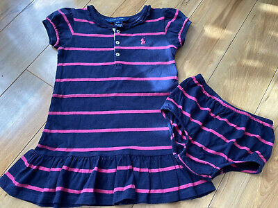 Ralph Lauren Baby Girl Short Sleeve Dress Blue With Pink Stripes 24 Months