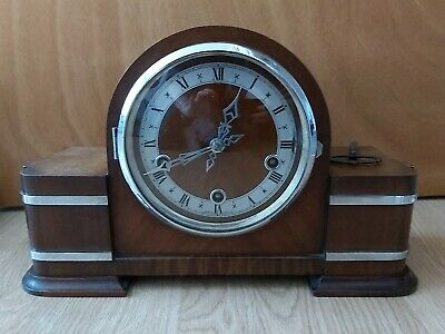 Rare Art Deco 1920's/1930's Smith's 3 Winding Hole Chiming Mantle Clock