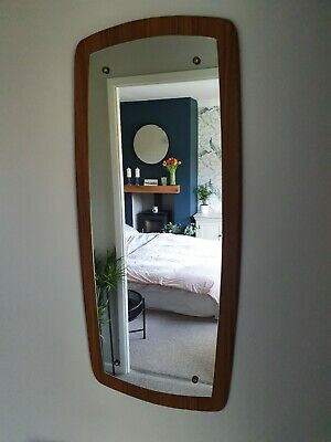 Vintage 60's Mid-Century Large Wooden Framed Wall Hall Mirror