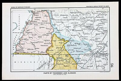 1899 Tennessee Alabama Map Nashville Native American Ceded Territories Treaties