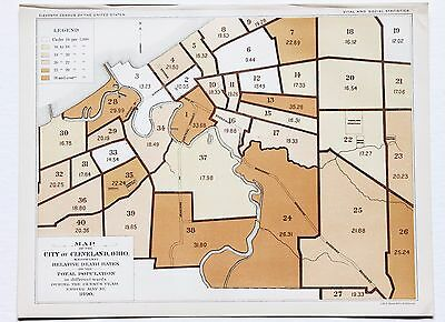 1890 Cleveland Ohio Map Death Rate 11th Census Statistics ORIGINAL RARE