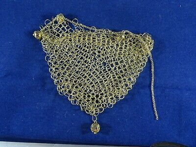 Gilt Metal Chainmail Chatelain Coin Purse, Rosary, Misers Purse