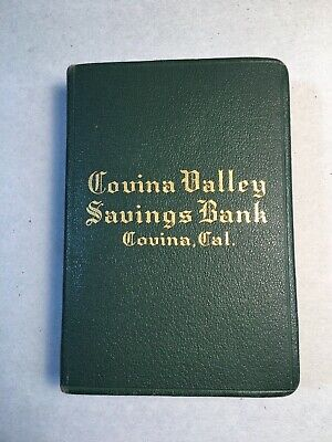 1920's Money / Piggy Bank Book Style Green Covina California Savings Bank