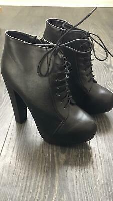 Ladies Womens Lace Up High Heel Ankle Boots Fashion Platform Black Leather SZ 7