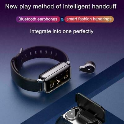 TWS T89 Smart Watch Bluetooth Earphone Heart Rate Monitor With Cable Wrist Z9X7