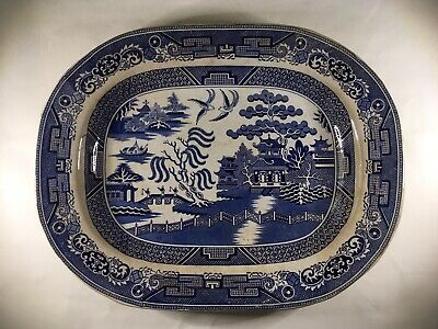 Antique Early 19th Century Willow Staffordshire Charger c. 1815 Ironstone