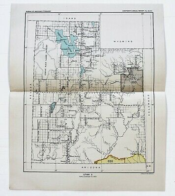 1899 Utah Map Provo Salt Lake Ogden Native American Ceded Territory ORIGINAL