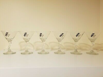 Set of 6 FRIS Vodka Scandia Twisted Stem Mini Martini 4 oz Glasses Cocktails