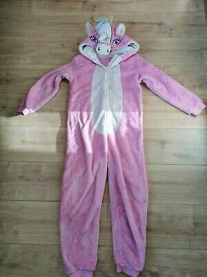 Girls Unicorn All In One Pyjamas From George Age 10-11 World Book Day Pink