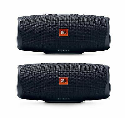 JBL Charge 4 Portable Waterproof Wireless Bluetooth Speaker Bundle (Pair) Black