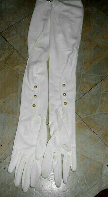 Women's Vintage Wear-Right Gloves White 100% nylon Size 6 1/2 22 inches long