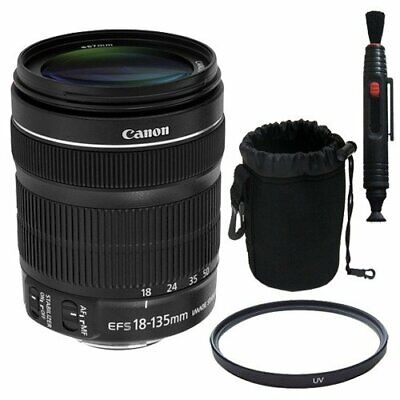 Canon EF 18-135mm f/3.5-5.6 is STM Lens + 67mm UV Filter Pen Cleaner + Deluxe Le