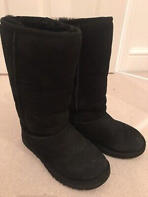 Girls Tall Black UGG Boots. Size 12/ 30 - Genuine