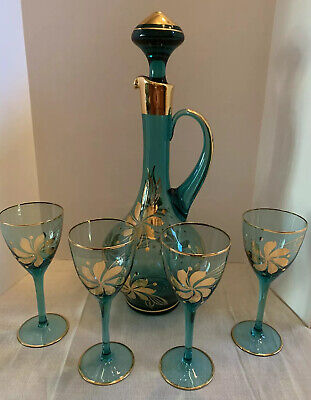 Vintage Blue MOUTH BLOWN CRYSTAL Glass Decanter Mid Century W/ 4 Glasses