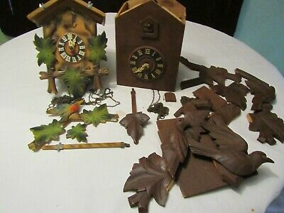 LOT OF 2 Old GERMAN CUCKOO CLOCK MOVEMENT CHAINS CLOCKS PARTS REPAIR WEIGHTS