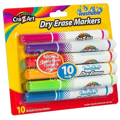 Pack of 10 Bright Colors Cra-Z-Art Washable Low Odor Dry Erase Markers #10133