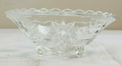 VTG Crystal Footed Bowl Centerpiece Console Fruit Salad Dish Scallop Glass GL13