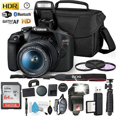 Canon Rebel T7 DSLR Camera +18-55mm Lens and 64GB Ultra Speed Memory Card, Case,