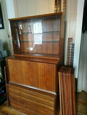 POUL CADOVIUS Mid Century DANISH Cado Wall Unit System Glass Cabinet and Bar