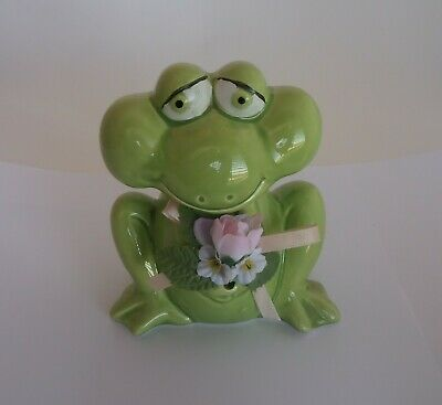 Enesco Ceramic Light Green Frog Bank Figurine - Frog Collection