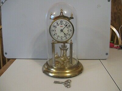 Vtg W.Germany KUNDO .Anniversary Clock Parts/Repair With Glass Dome+Key