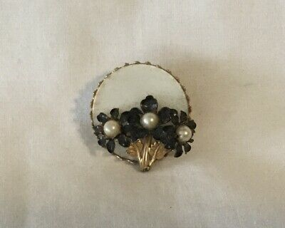 Antique ART DECO MOTHER OF PEARL & FLOWERS CIRCLE PIN