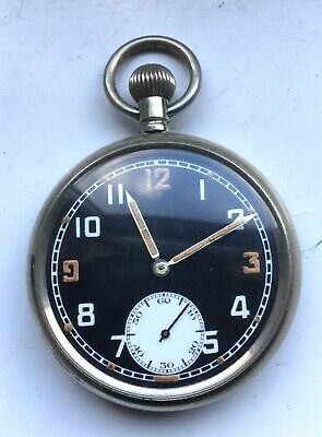 WWII Black faced Military GSTP Pocket watch - RECORD C433 MOVEMENT Working