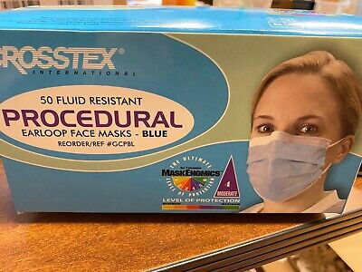 Crosstex Level 4 Face Mask - Blue -Box of 50