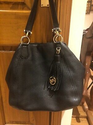 Michael Kors Black Tote Leather Handbag With MK Tassel 100% Genuine