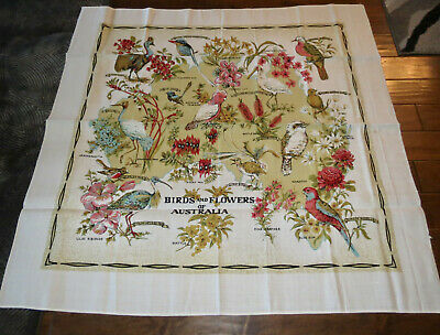 1950s Tablecloth Australia Souvenir Flowers Birds Linen Brilliant Colors New