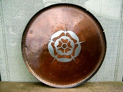 Arts & Crafts copper plaque style of Hugh Wallis monogrammed Tudor Rose design