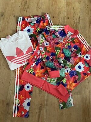 Girls Adidas Legging Jacket T Shirt Set Age 12-13 -14 Tracksuit