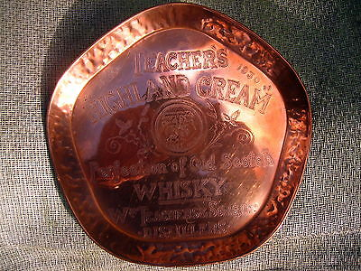 Copper Arts & Crafts style tray plaque Teachers Highland Scotch Whisky 1830-1930