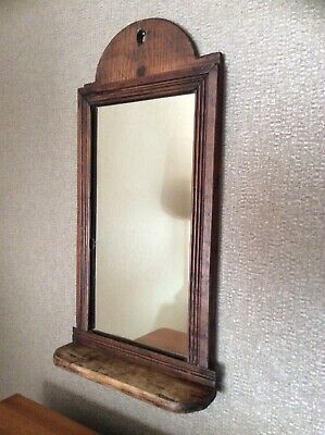 Antique Wooden Pine Mirror Dressing Table Top Or Wall Mounted
