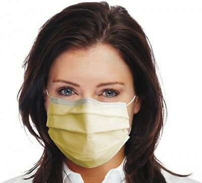 50X Anti Coronavirus Disposable Face Hospital Mask Medical Surgical Flu Yellow