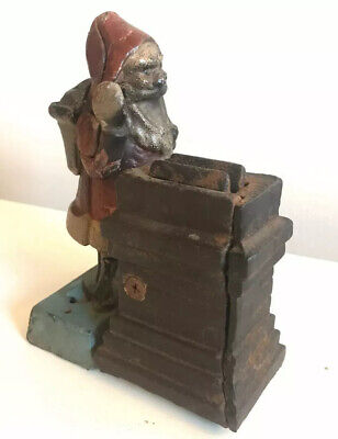 Antique Original Mechanical Cast Iron Santa Claus Bank Works Shepard Hardware Co