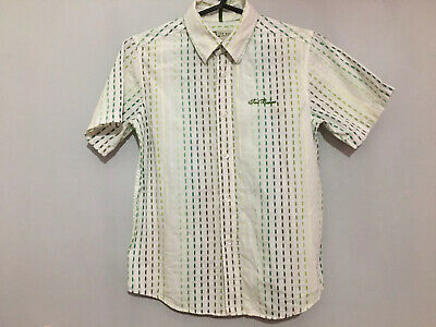 Boys Ted Baker Green Ombre Striped Pattern Short Sleeve Shirt 8 Yrs