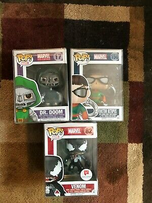 Funko Pop! Marvel Universe lot: Dr. Doom #17 Vaulted Venom #82 Dr. Octopus #150