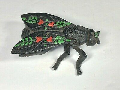 Vintage Cast Iron Hand Painted Fly Ashtray