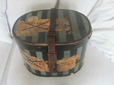 Striking antique 1920's HAT BOX WITH P&O SHIPPING LABELS and leather strap