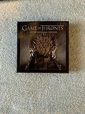 """HBO Game of Thrones Set of Four Sigil Coasters, 4"""" Square, Cork Back, Never Used"""