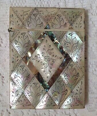 Antique C1800 Calling Card Case, Mother Of Pearl & Abalone