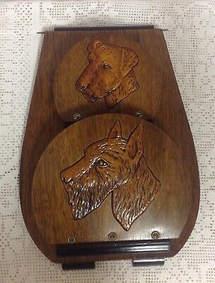 1930s Scottie & Airedale Terrier Fretwork Wood Dog Magazine/ Newspaper Wall Rack