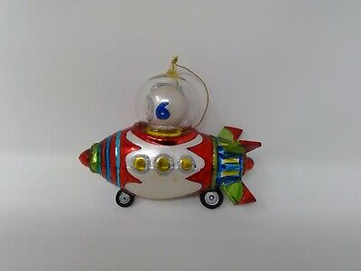 "BOY ASTRONAUT IN SPACESHIP GLASS ORNAMENT 4"" High 6"" Wide  Retro Sci Fi"