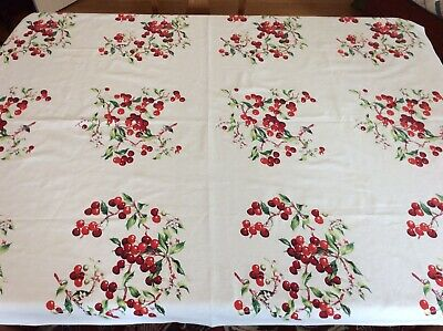 Wilendur Tablecloth Vintage Red Cherry Blossoms White 54 by 68