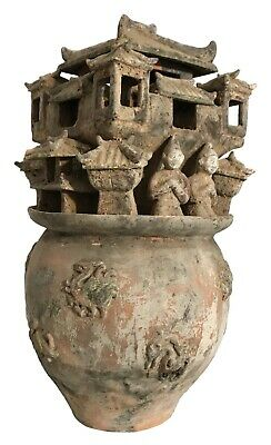 An exceptional Chinese Han Dynasty Style Moulded Pottery Urn