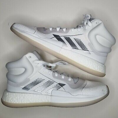 Adidas High Marquee Boost Basketball Shoes White Silver G28757 Mens Size 15 New